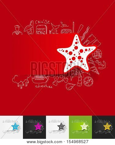 hand drawn simple elements with starfish paper sticker shadow