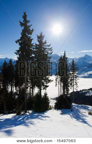 View from Scmitten over Kaprun Resort and Kitzsteinhorn peak