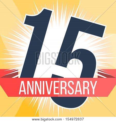 Fifteen years anniversary banner. 15th anniversary logo. Vector illustration.
