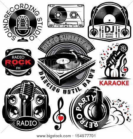 set of retro badges templates for karaoke disco party radio singing