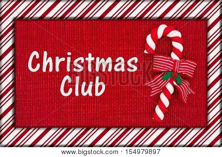 Christmas savings club message Red shiny fabric with a candy cane and candy cane border with text Christmas Club 3D Illustration