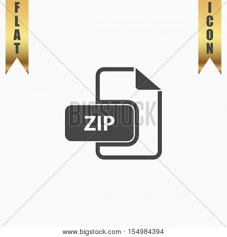 ZIP archive file extension. Flat Icon. Vector illustration grey symbol on white background with gold ribbon