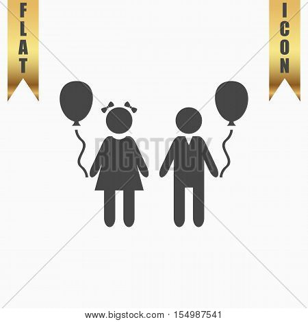 Children and Balloon. Flat Icon. Vector illustration grey symbol on white background with gold ribbon