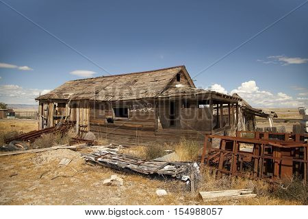 Cisco Utah USA - September 03 2016: Abandoned house in the ghost town of Cisco