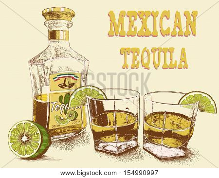 Two stemware of tequila with bottle and lime. Vintage poster.Vector illustration