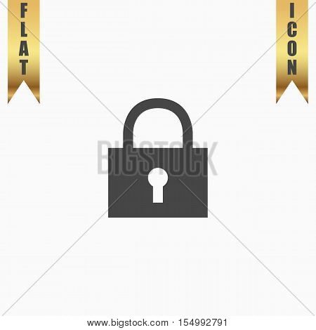 Simple lock pad. Flat Icon. Vector illustration grey symbol on white background with gold ribbon