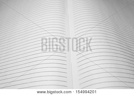 Lightly battered deployed blank lined sheets of accounting journal