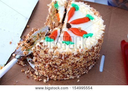 Carrot cake on a carton plate