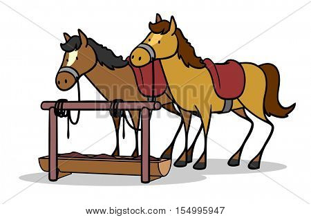 Cartoon horses with saddle on ranch with food in the wild west