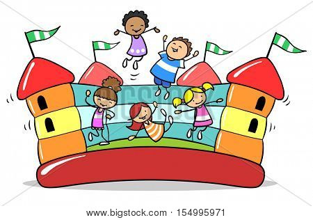 Happy children jumping on bouncy castle at birthday party