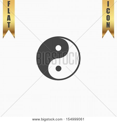 Ying-yang icon of harmony and balance. Flat Icon. Vector illustration grey symbol on white background with gold ribbon