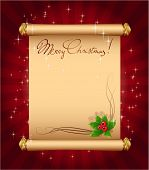 picture of christmas greeting  - Christmas greeting  magic scroll with holly berries - JPG