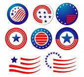 Vector version. American patriotic symbols set for design and decorate. Jpeg version is also availab