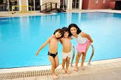 image of swimming pool family  - On the pool together - JPG
