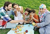 stock photo of muslim kids  - Muslim family - JPG