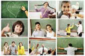 School concept, children and teacher, success in classroom - collage. Education process. Loving lear