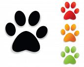 stock photo of dog footprint  - paw print collection - JPG