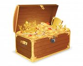picture of treasure chest  - Wooden treasure chest - JPG