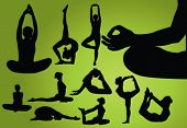 foto of yoga silhouette  - Different Yoga pose - JPG