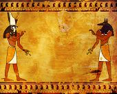 stock photo of horus  - Background with Egyptian gods images  - JPG