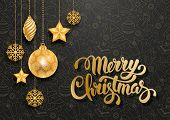 Festive Christmas Luxury Design with Golden Christmas Decorations and Seamless Pattern on Background poster