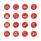 red sticker medicine icons