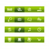 Green bar home electronics icons. Vector file has layers, all icons in two versions are included.