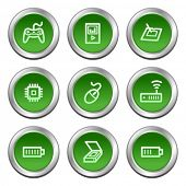 Electronics web icons set 2, green circle buttons series