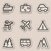 Travel web icons set 1, brown contour sticker series