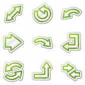 Arrows web icons, green contour sticker series