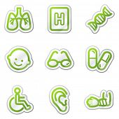 Medicine web icons set 2, green contour sticker series