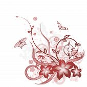 picture of hibiscus flower  - A detailed beautiful floral background design with butterflies - JPG