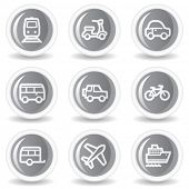 Transport  web icons, circle grey glossy buttons