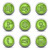 Finance web icons set 2, green glossy set