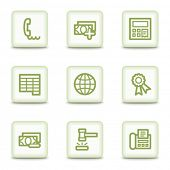 Finance web icons set 2, white glossy buttons