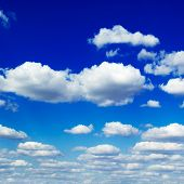 blue sky and beautiful fluffy white clouds poster