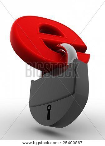 Symbol for internet with keys. 3d