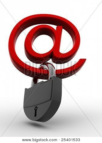 Symbol for internet with padlock. 3d