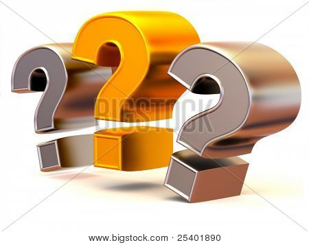 Three signs on a question. 3d