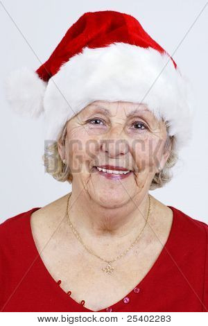 Vertical Of Grandma With Christmas Hat