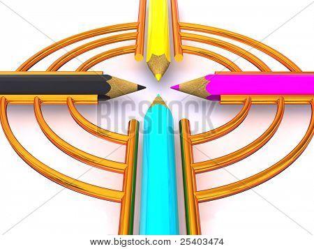 Target from pencils. CMYK. 3d