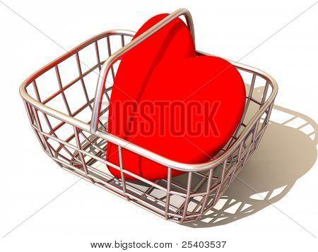 Verbrauchers Korb mit Herz. 3D