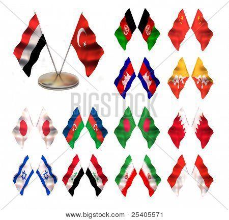 Asian flags 2. China, Afganistan, Cambodia, Butan, Japan, Azerbaijan,  Bahrain, Bangladesh, Israel, Iraq, Indonesia, Iran