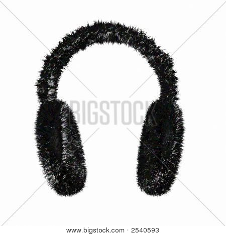 Render Of A Black Furry Winter Earmuffs