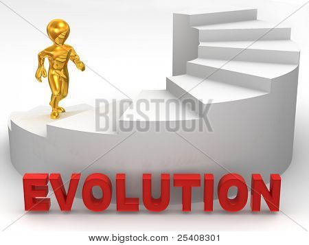 Men on stairs. 3d Evolution. 3d