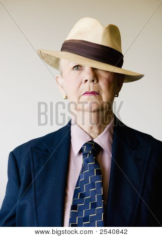 Dramatic Senior Woman Wearing A Hat