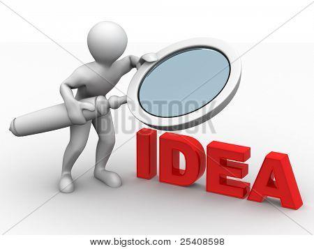 Men with loupe. Idea. 3d