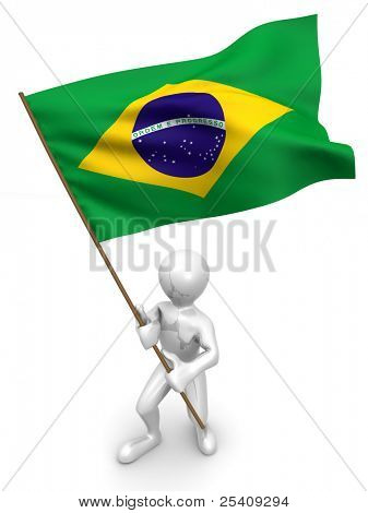 Men with flag. Brazil. 3d