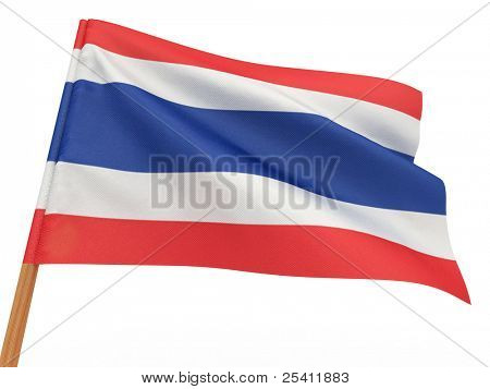 flag fluttering in the wind. Thailand. 3d
