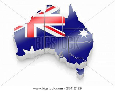 Karte von Australien in australische Flagge Farben. 3D